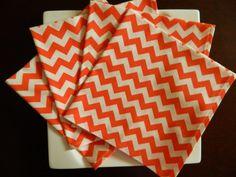 Chevron Cotton Dinner Napkins. Small Orange & White Zig Zag