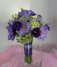 Bouquet of Scabiosa, Queen Anne's Lace, green hydrangea, dendrobium orchids and lisianthus