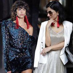 Sintonia Fashion  maxibrincos #YSL desfilados a pouco em Paris  e meu brinco desejo @shoptogether em Look na #NYFW #aliceferraz