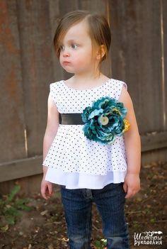 Gran vestido con una blusa para las niñas, el patrón adjunto | costura