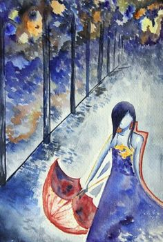 Girl in Street with Umbrella Watercolor Painting by DroppingColors, $30.00