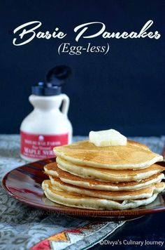 Soft and fluffy Basic pancakes made without egg.