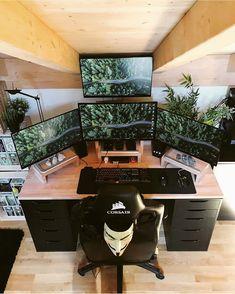 Do you like the vegetation in this setup? 🍃🌱⠀⠀⠀⠀⠀⠀⠀⠀⠀ Tag your friends🙌⠀⠀⠀⠀⠀⠀⠀⠀⠀ Daily setup content Computer Desk Setup, Gaming Room Setup, Pc Setup, Gamer Bedroom, Bedroom Setup, Minimal Office, Super Smash Bros Brawl, Game Room Kids, Desktop Design