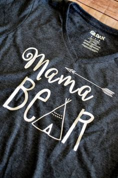 Mama Bear with Arrow VNeck Shirt by LeeThreeEmbroidery on Etsy