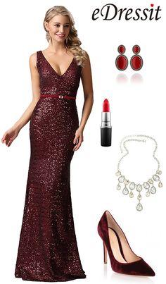 eDressit Plunging Neck Burgundy Sequin Formal Dress