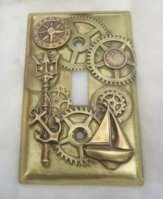 Steampunk Nautical Light Switch Plate made to order. $150.00, via Etsy.