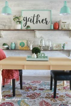 Love this colorful farmhouse dining room! Lots of color with classic pieces. This apricot dining room table is a fun way to bring color to a neutral space! Learn how to get a professional finish on your furniture using @gliddenpaint #ad #diy #furniture