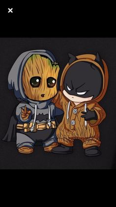 Chibi Batman and baby Groot - Sup? Chibi Batman and baby Groot - Cute Disney Drawings, Cute Animal Drawings, Kawaii Drawings, Cute Drawings, Cute Disney Wallpaper, Cute Cartoon Wallpapers, Humor Batman, Batman Batman, Funny Batman