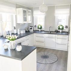 White and grey kitchen ? White and grey kitchen ? Home Decor Kitchen, Kitchen Furniture, New Kitchen, Kitchen Ideas, Diy Furniture, Wooden Kitchen, Decorating Kitchen, Grey Kitchen Designs, Interior Design Kitchen