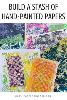 Some paint and a couple of simple tools are all that's necessary to make gorgeous hand-painted papers! Paper Collage Art, Paper Art, Mix Media, Painted Paper, Hand Painted, Art Journal Pages, Art Journals, Junk Journal, Cloth Paper Scissors