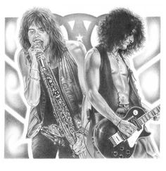 Aerosmith Original Sketch Prints - Poster Size - Black & White - Features Steven Tyler and Joe Perry. Print of Highly-Detailed, Handmade Drawing By Artist Mike Duran   http://citymoonart.com/aerosmith-original-sketch-prints-poster-size-black-white-features-steven-tyler-and-joe-perry-print-of-highly-detailed-handmade-drawing-by-artist-mike-duran/