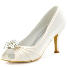 ElegantPark EP2094AE Damen Strass Perlen Schuh Clip Peep Zehen Hochzeit Pumps Satin Tanz Brautschuhe Ivory Gr.35