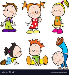 Illustration about Collection of cartoon characters of young children - boys and girls. Illustration of children, assorted, figures - 26656153 Happy Cartoon, Cartoon Faces, Cartoon Kids, Cartoon Drawings, Doodle Drawings, Easy Drawings, Drawing For Kids, Art For Kids, Illustration Tattoo