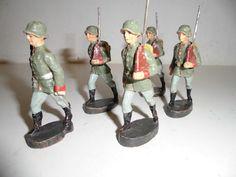 LINEOL Gruppe Soldaten marschierend mit Offizier 7,5cm | eBay