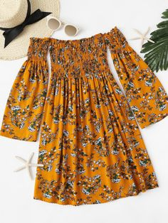 Off Shoulder Floral Print Pleated DressFor Women-romwe by jerri Cute Dresses, Casual Dresses, Casual Outfits, Summer Dresses, Summer Outfits, Teen Fashion Outfits, Girl Outfits, Dress Fashion, Pretty Outfits