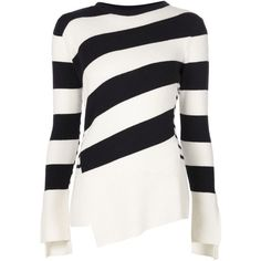 Alexander McQueen Striped Sweater ($995) ❤ liked on Polyvore featuring tops, sweaters, blue, white crew neck sweater, wool sweater, striped sweater, white top and white long sleeve sweater