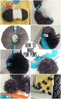 How to Make Yarn Pom Poms and a Giant Pom Pom Throw! #DIY