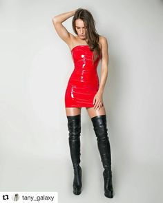 Latex Skirt, Latex Dress, Women's Dresses, Thigh High Boots, Over The Knee Boots, Latex Boots, Vinyl Dress, Shops, Body Picture