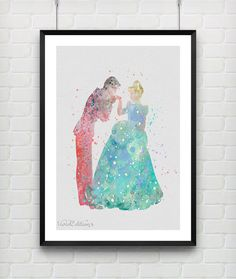 Cinderella and Prince Charming Disney Watercolor Art Print by VIVIDEDITIONS