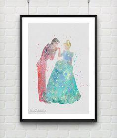 Cinderella and Prince Charming Disney Watercolor Art Print by VIVIDEDITIONS