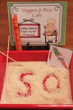 "Sight word game - This is a fun hands on center to help your students learn the sight word spellings. Students write the words in the rice using chopsticks or their fingers. It's a great sensory activity and is very exciting, too! Sight words for grade K-2 are provided. Center can also be used for identifying letters/numbers, spelling various vowel patterns, math skills, etc. Blank ""Veggie"" cards are provided for you to adapt the center to your lessons."