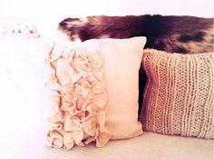 Ruffled drop cloth pillow.