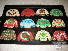 Ugly Christmas Sweater Cookies.  These would be so much fun to decorate!