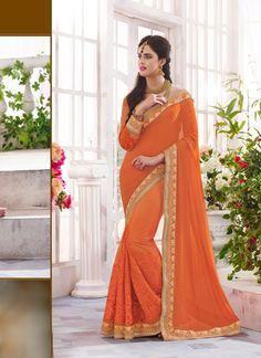 Orange Wholesale Designer Saree Supplier From Surat