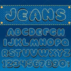 Denim Font  #GraphicRiver         Jeans Textured Font, All Letters and Numbers From Stitched Denim Patches.   - vector illustration, only simply linear and radial gradients used   - vector objects grouped   - no blends, gradient mesh used   - vector available CMYK colors for print   - pack include version AI, CDR, EPS, JPG  Keywords: background, beautiful, button, closeup, clothing, cotton, figure, isolated, joint, pocket, quilt, rivet, seam, set, kit, sew, sewing, sign, stitch     MORE…