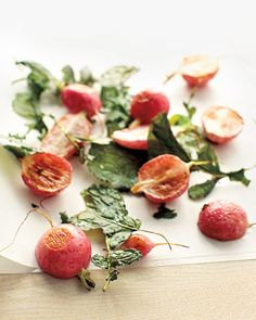 Temper the bitterness of these radish greens by roasting them and the radishes. Radish Recipes, Roast Recipes, Side Recipes, Fruit Recipes, Vegetable Recipes, Savoury Recipes, Paleo Recipes, Red Vegetables, Veggies