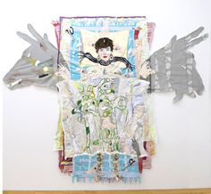 """Todd Knopke, """"Repair,"""" 2011, fabric, thread, crystals, stones, shells, sharks' teeth, abalone, iron-on photo, pillow tag, ink, graphite, 95""""x113""""x1"""""""