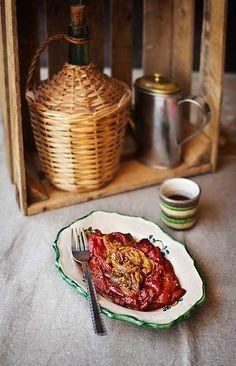 ::Ensalada marroquí de berenjena y pimiento rojo:: Soup Recipes, Recipies, Healthy Recipes, Comida Armenia, International Recipes, Eggplant, Good Food, Food And Drink, Veggies
