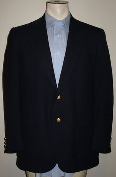 Men's Stafford Blue Blazer Sport Coat - 40R - Gold Buttons - Wool Blend #Stafford #TwoButton
