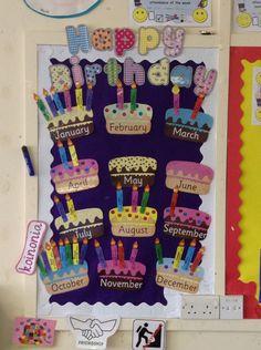 Birthday's board idea for classes Birthday Calendar Classroom, Preschool Birthday Board, Birthday Bulletin Boards, Birthday Wall, Preschool Classroom, Preschool Crafts, Crafts For Kids, Cupcake Birthday, Happy Birthday