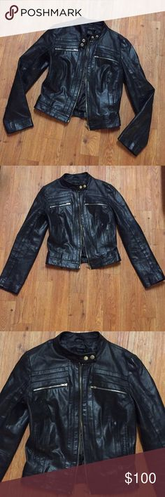 Arden B Black Leather Motorcycle Jacket XS A staple to every wardrobe is a great black leather jacket! This one is an XS with a soft lining and great silver hardware. Arden B Jackets & Coats