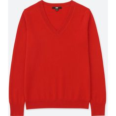 UNIQLO Women's Cashmere V-Neck Sweater (336530 PYG) ❤ liked on Polyvore featuring tops, sweaters, dark orange, dressy tops, v-neck tops, cashmere v-neck sweater, v neck sweater and red sweater