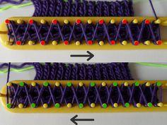 Tricotsteek breien op een breiraam, dubbel breien Easy Knitting, Loom Knitting, Loom Blanket, Knifty Knitter, Knitwear, Knit Crochet, Weaving, Stitch, Needlecrafts