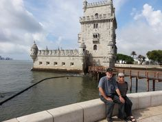 Frenglishman Barry and Renée posing in front of the Belem Tower near to which the Lusitania first took off on March Belem, Algarve, Travel Europe, Lisbon, Portugal, March, Tours, Mac
