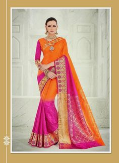 Arresting Orange Patch Border Work Designer Saree