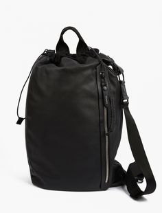 Lanvin | Black Leather Duffle Bag |  This unique bag from Lanvin is crafted in Italy from premium leather and has been designed for use as either a duffle of shoulder bag. Featuring comfortable carry-handles and an adjustable strap, the bag is finished with a silver-toned zip closure and subtle branded detailing.