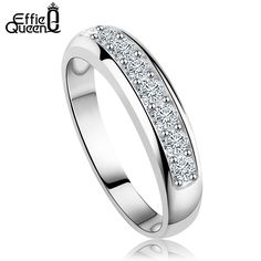 Effie Queen Luxury Platinum Plated Women Wedding Band with Heart and Arrow Cut Clear Zircon Fashion Ring for Women DR24