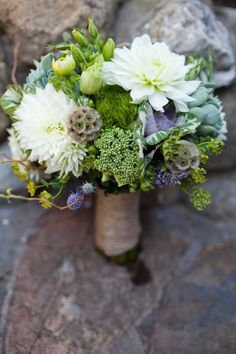 Beautiful green bouquet. Love the different shapes / forms. Would be great if it could incorporate flowers from our garden & Windlesham