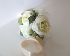 Wrist corsage Elegant Ivory Ranunculus Wrist by LoveMimosaFleur