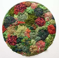 Embroidery.  I love the texture of this -reminds me of mosses and lichens.  From Strawberry Seahorse Designs, on Etsy.
