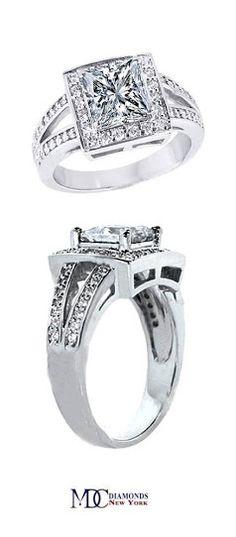 Square Halo Split Band Princess Cut Diamond Engagement Ring