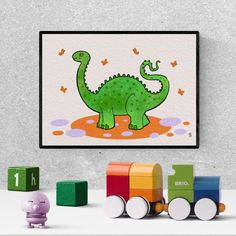 diplodocus dinosaur , baby shower gift, boys room decor, diplodocus, printable wall art