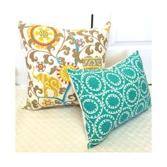 Love this turquoise with our elephant fabric!  #ahadesigns #elephants #custompillows #monograms