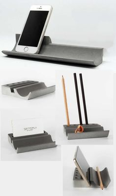 Concrete Desk Stationery Organizer Pen Pencil Holder Smart Phone Dock Stand Holder Business Card Holder