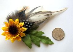 Feather Clip Small Sunflower Polka Dot by huiish87, $13.00