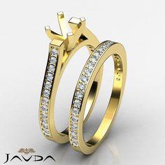 Princess Diamond Engagement Bridal Ring Set 14k Gold Yellow Semi Mount 0.57 ct.